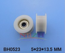 10pcs/lot 5*23*13.5Flat H groove plastic coated nylon pulley bearing  embedded