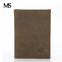 MS Men Wallets High Quality Crazy Horse Leather Wallet With Credit Card Holder Cow Leather Vintage