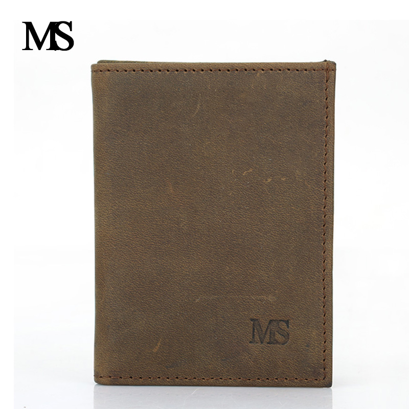 MS High Quality Brand Genuine Leather Men Wallets Vintage Slim Wallet Men Purse Small Wallet Cowhide Wallet Card Holder TW1647