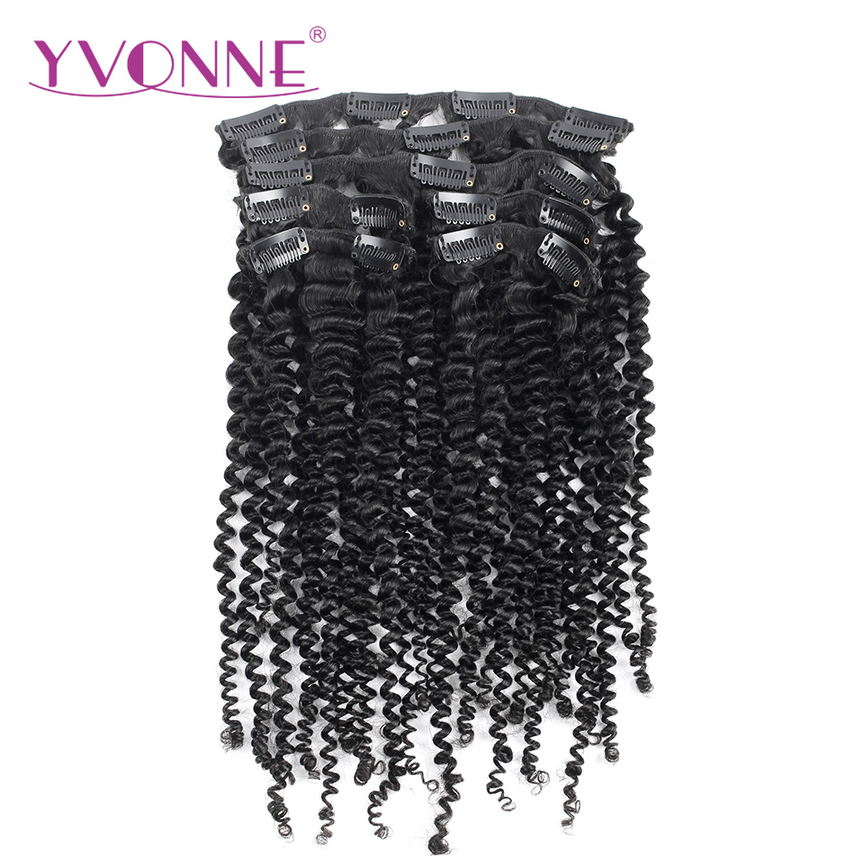 YVONNE HAIR 7 Pieces/Set Brazilian Kinky Curly Clip In Hair Extensions 100% Virgin Human Hair Natural Color 120g/set