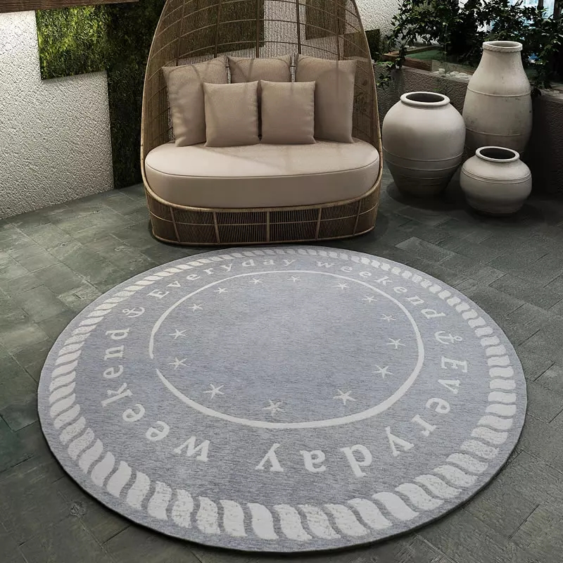 Simple Style Decoration Carpet 120*120cm , Mandala Style Round Shaped  Ground Mat , Non Slip Blue Chair Mat ,floor Carpet  In Carpet From Home U0026  Garden On ...