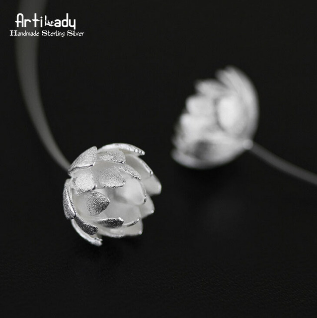 Artilady handmade 925 sterling silver earrings luxury sterling silver beautiful lotus earrings women jewelry christmas gift