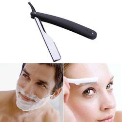 Manual de barbear profissional borda reta aço inoxidável afiada navalha dobrável barbear barba cortador titular (sem lâmina)