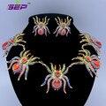 De Aleación de Zinc Animal Tarantula Araña Pendientes Del Collar W/Cristales Del Rhinestone Para Halloween 5 Colores