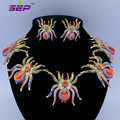 Zinc Alloy Animal Tarantula Spider Necklace Earrings Set W/ Rhinestone Crystals For Halloween 5 Colors