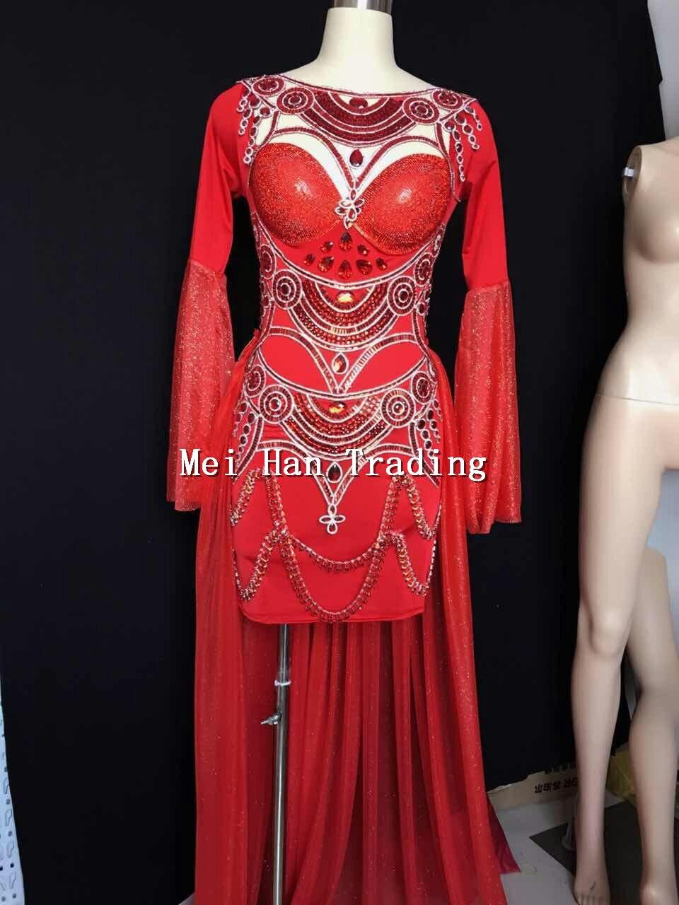 2018 nuevo vestido de lentejuelas rojas de manga larga vestidos de diamantes de imitación para fiesta de baile brillante vestido de actuación para discoteca-in Vestidos from Ropa de mujer    1