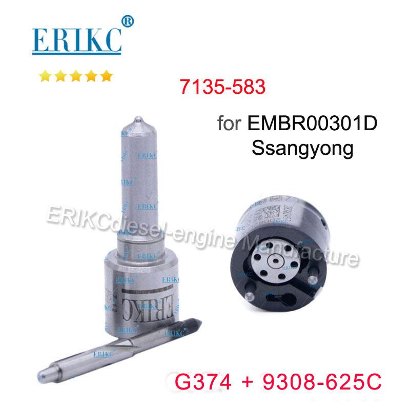 ERIKC Valve 9308-625C Nozzle G374 (L374PBD) Diesel Injector Repair Kits 7135-583 for SSANGYONG Euro5 EMBR00301D A6710170121