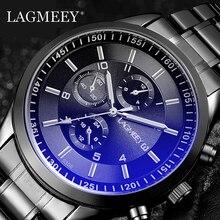 LAGMEEY แบรนด์ที่มีชื่อเสียงผู้ชายนาฬิกาควอตซ์โลหะสีดำสแตนเลสผู้ชายนาฬิกากันน้ำนาฬิกาข้อมือชาย Relogio Masculino