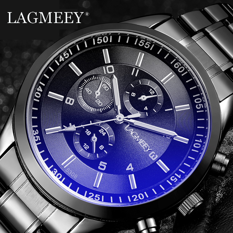 LAGMEEY Famous Brand Men Quartz Watch Black Metal Band Stainless Steel Men Watches Waterproof Wristwatch Male Relogio Masculino|hombre|hombre reloj|  - title=