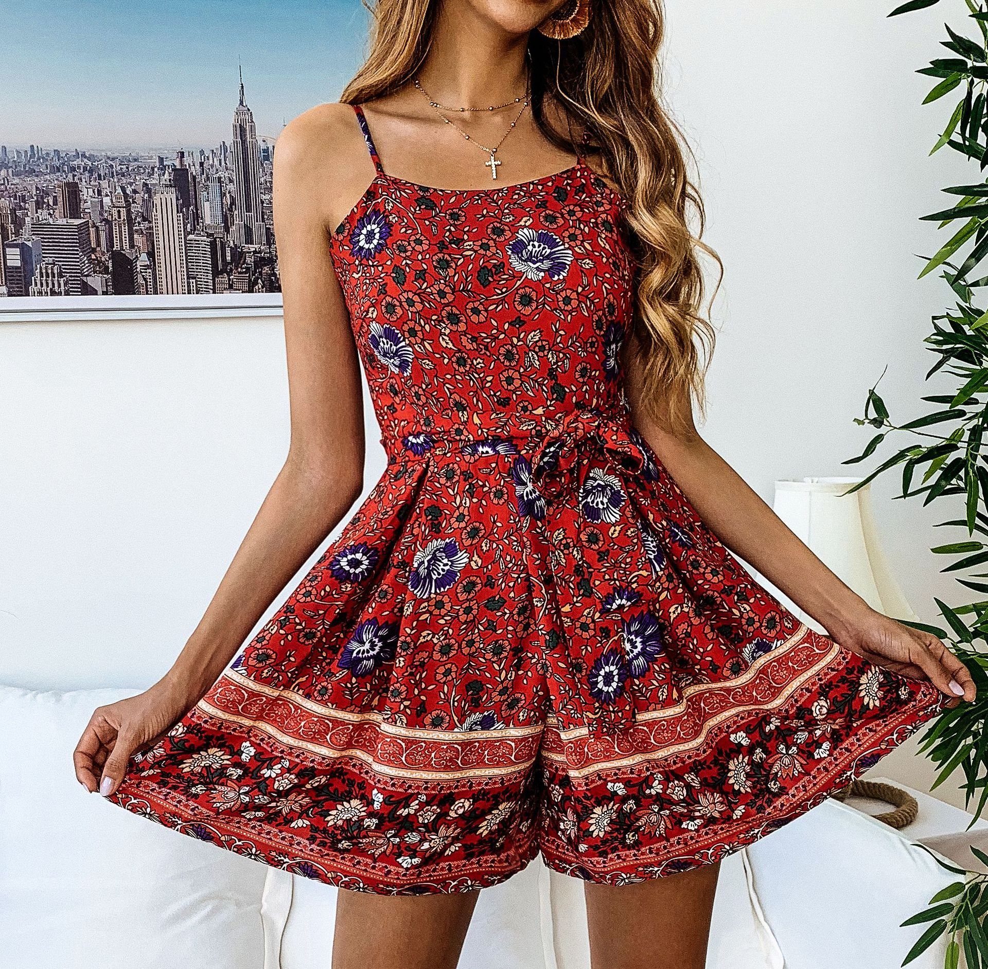 ZOGAA 2019 Summer Floral Printed Women Jumpsuit Sexy Spaghetti Strap Above Knee Jumpsuits Elegant Casual Beach Wide Legs Skirt in Rompers from Women 39 s Clothing
