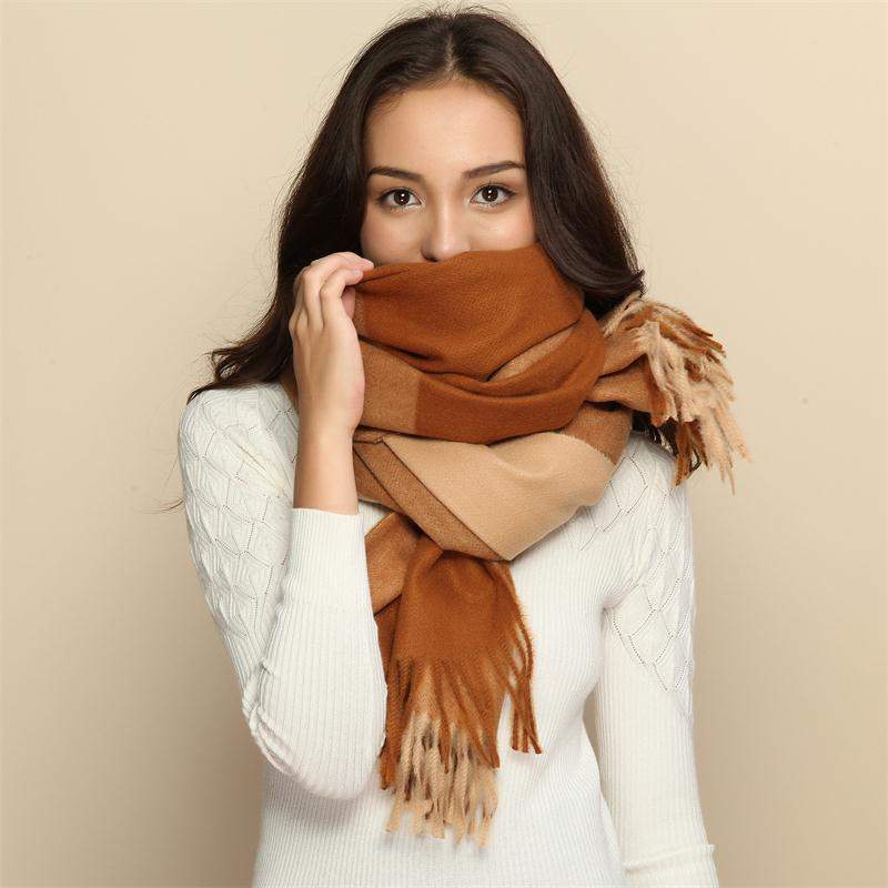 High quality women fashion 2018 Shawl Winter Cashmere Scarf plaid fringe shawl with tassel thick warm scarves wraps