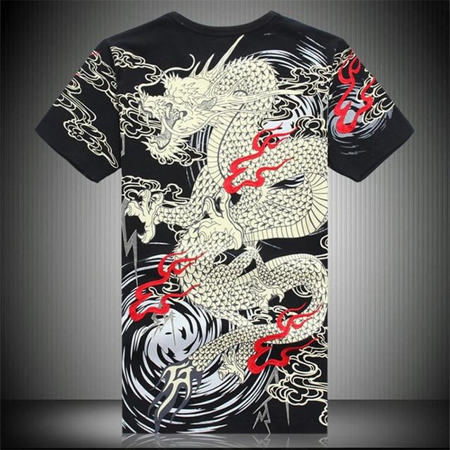 中国風の竜刺繍高級半袖 tシャツ夏 2019 ニュートップ品質の綿のファッション tシャツ男性 m-4XL