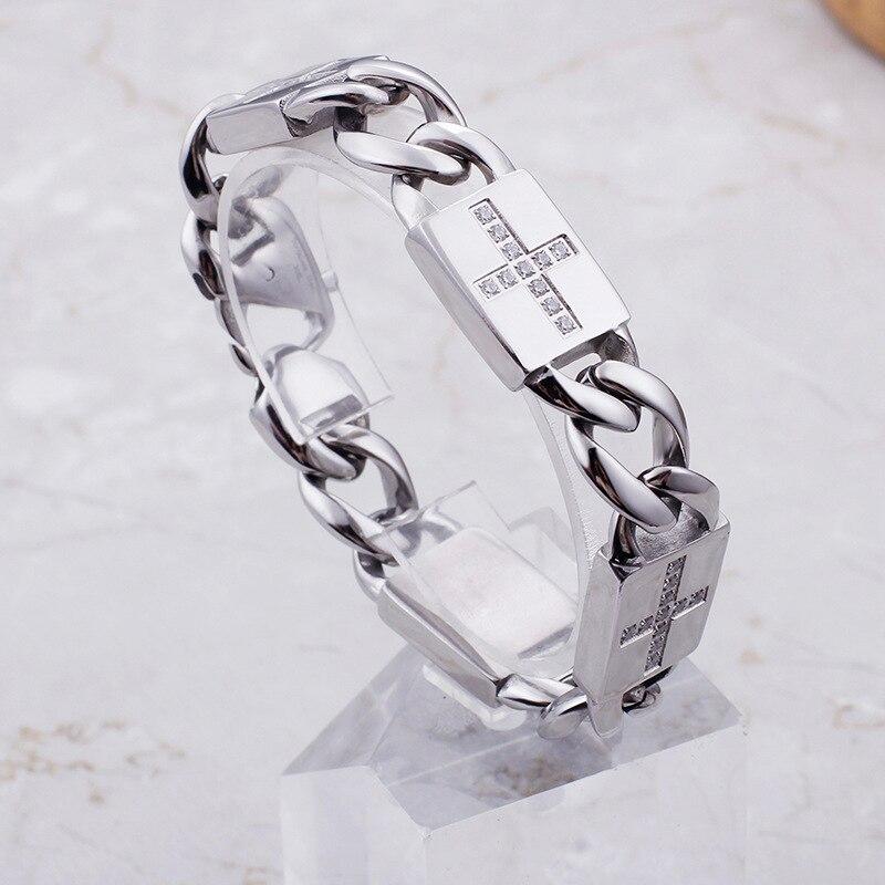 Homme Hip Hop Miami gourmette Bracelet cubain argent glacé pavé strass rappeur grand Bracelet bijoux S233