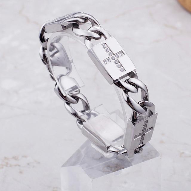Męska Hip Hop Miami Curb kubański bransoletka srebrny Iced Out betonowe cyrkonie raper duża bransoleta biżuteria S233