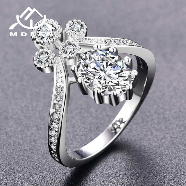 MDEAN White Gold Color Rings for Women Engagement Wedding clear AAA Zircon Jewelry Bague Bijoux Size 6 7 8  H844