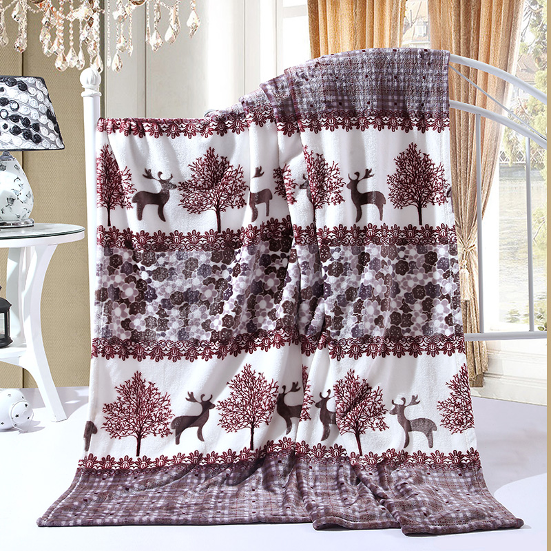 Patchwork Deer and Tree Plush Flannel Blanket for Bed Sofa Couch Bedspread Single Twin Full Queen Size Drop Shipping White