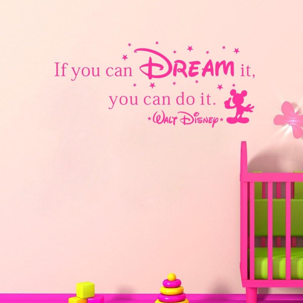Ha meg tudod álmodni, meg tudod csinálni rajzfilm fal matricák gyerekeknek Szobák Vinyl Gyermek matricák Óvoda dekor