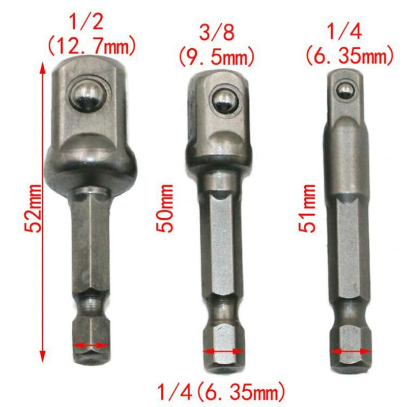 3pcs Socket Adapter 1/4 3/8 1/2 Hex Shank Drive Screwdriver Drill Bit Electric Socket Wrench Extension Joint Socket Adapter 3pcs set wrench sleeve extension bar hex shank drive power drill bit socket driver adapter set 1 4 3 8 1 2 50mm