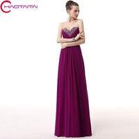 שמלת ערב נשים משתה כלה מתוקה שרוולים ארוכים סגול שיפון קריסטל מפלגה לנשף שמלות