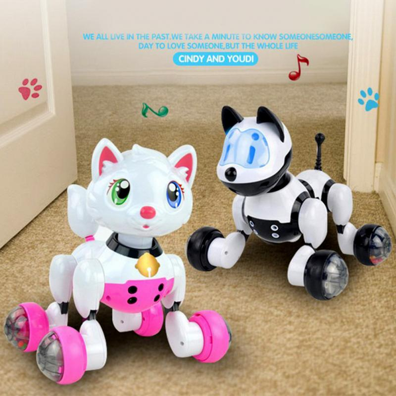 Smart kids pet toy dog cat infrared remote control series cat dog robot pet dog cat mushroom style squeaky plush toy green yellow white