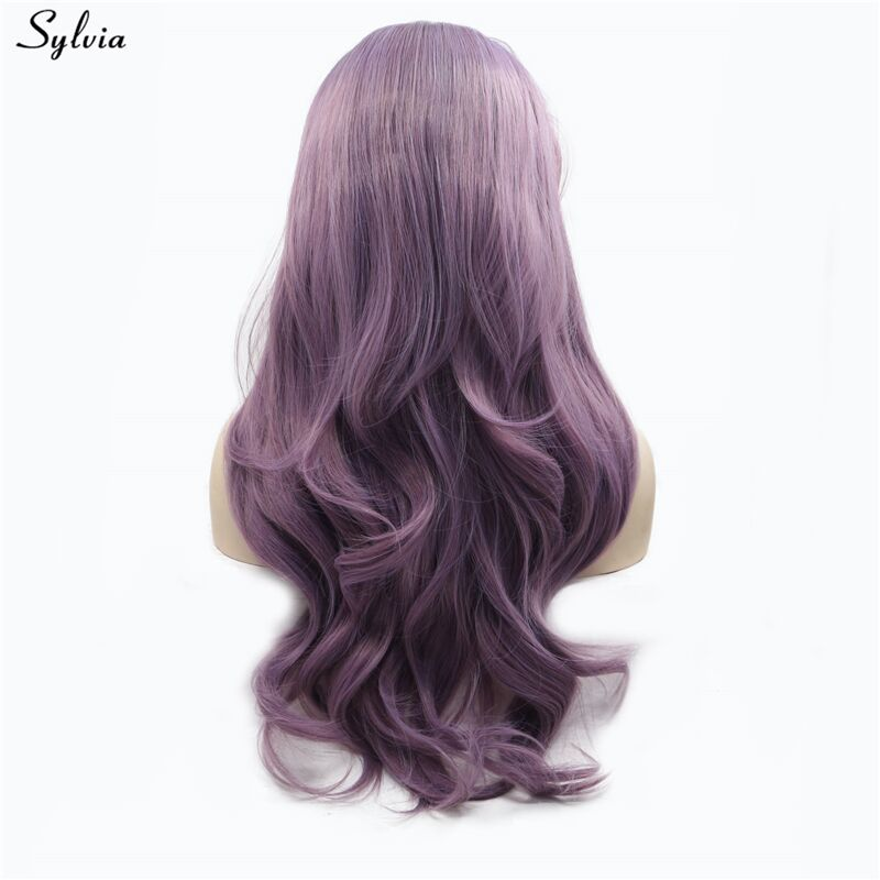 Sylvia Long Soft Wavy Tyrian Purple Wigs lace front wig synthetic heat resistant fiber glueless 180% density (1)