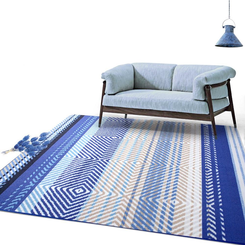 MDCT Modern Blue White Geometric Arts Design Carpets Mediterranean Home Decorative Big Floor Mats Living Room Parlor Bedroom Rug
