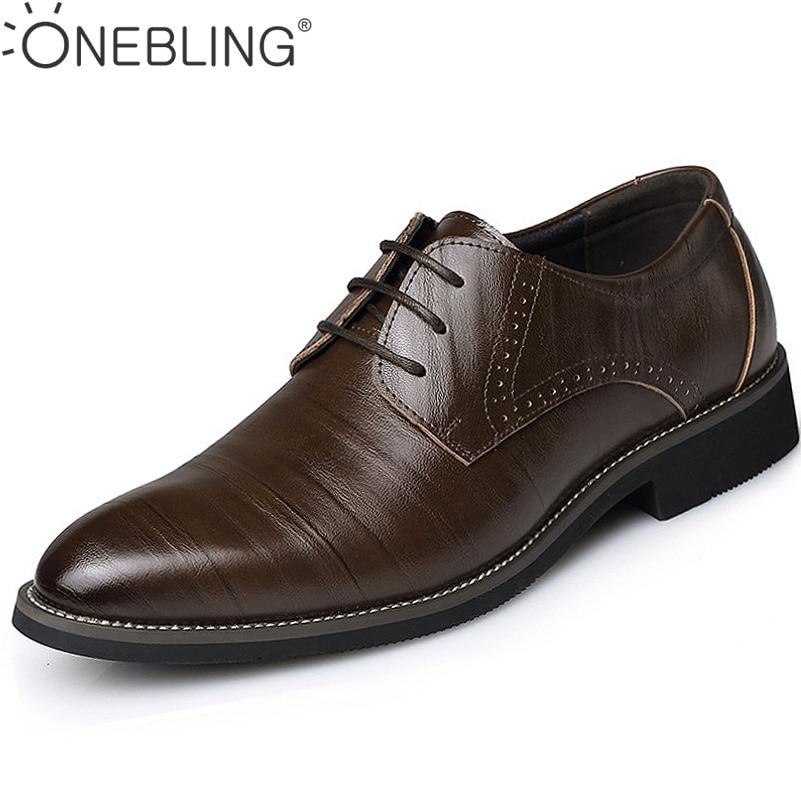 Hot Sale Men Leather Dress Shoes 2017 Fashion Wedding Shoes Breathable Business Shoes Lace-up Flat Shoe Mens Oxfords Size 38-45 стоимость