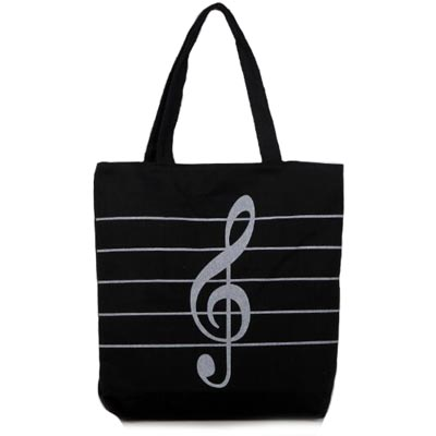 Hot 2018 Girls Ladies Canvas Shoulder Bags Casual Musical Note Tote Bag Handbags for Women Shopping Bag Bolsas AB0091