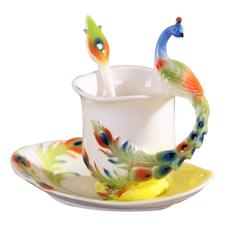 Colored Enamel Porcelain Peacock Coffee Mug Set China Bone Ceramic Tea Mlik Cup and Saucer With