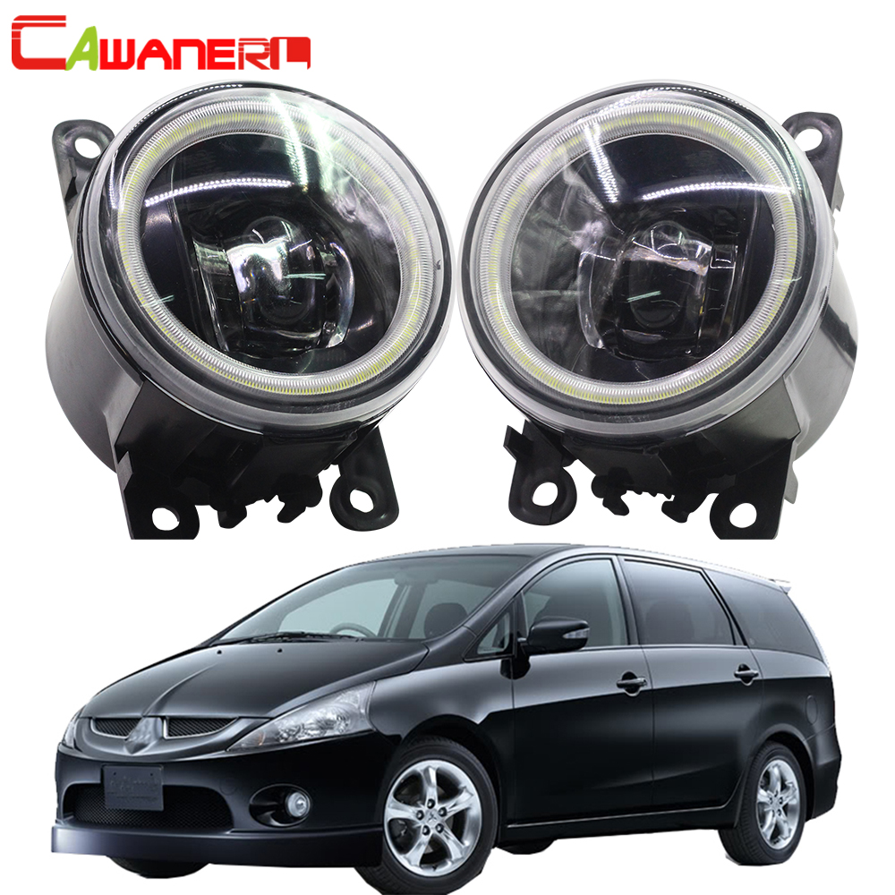 Cawanerl 2 Pieces Car 4000LM LED Fog Light Angel Eye DRL Daytime Running Light 12V For Mitsubishi Grandis NA_W MPV 2004-2011 eemrke led daytime running lights for mitsubishi grandis cob angel eye drl halogen h11 55w fog light