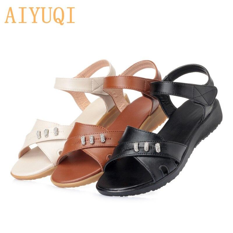 3e8595c5 2019 Aiyuqi Beige Mujeres Tamaño Zapatos brown black Microfibra Mujer Nueva  Las Verano Madre Más Sandalias Planas De Cuero PrXrnOWZq