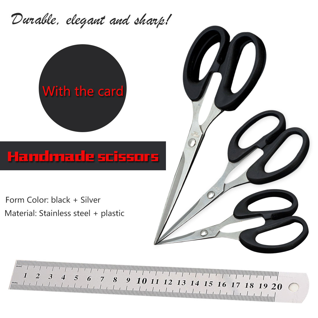 1pcs DIY Scissor Tool Durable Stainless Steel Household Scissors Office Paper-cut Scissors Sharp Shears Students Kitchen Scissor