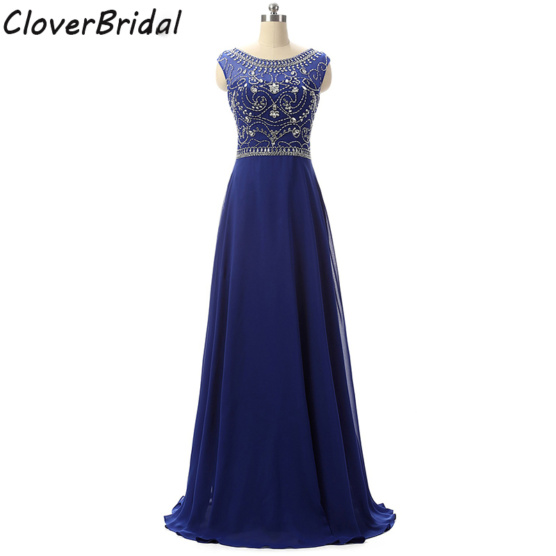 Real photos long chiffon royal blue   prom     dress   with stones beaded bodice evening   dress