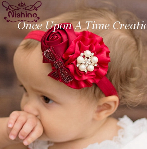 Nishine 1PCS New Girls Flower Headband Rose Bow Pearl Elastic Hairbands Hair Accessories Children   Headwear