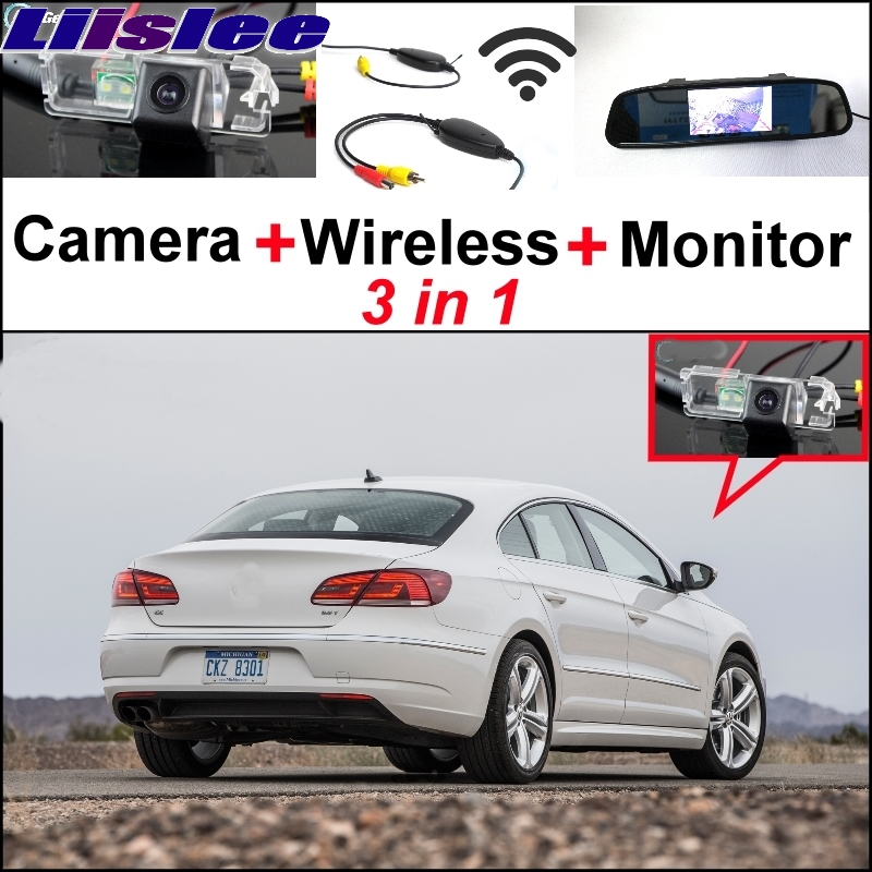 Liislee pecial Rear View Camera + Wireless Receiver + Mirror Monitor Easy DIY Back Up Parking System For Volkswagen VW Passat CC цена