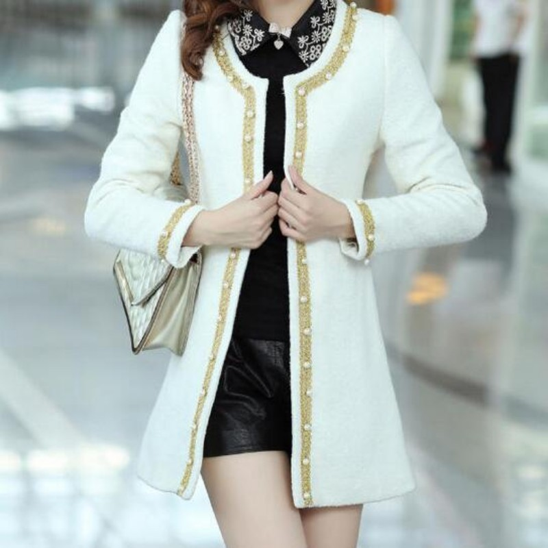 Spring Fashion New Korea Womens Pearl Round Collar Jackets Female Brand Wool Blend Slim Fit Long Coat Beads Jacket Trench-in Wool & Blends from Women's Clothing    1