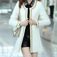 Spring Fashion New Korea Womens Pearl Round Collar Jackets F