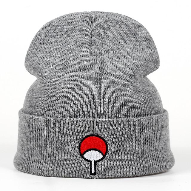 65b98acbe31 Japanese Anime Naruto Winter Knitted Hats Uchiha Family Logo Embroidery  Warm Skullies Beanie Skiing Knit Hats Hat Hip Hop
