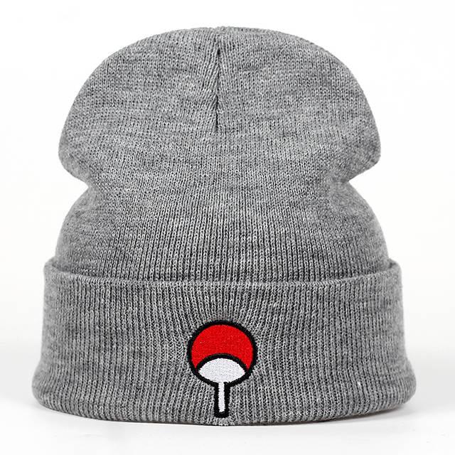 bb407784 Japanese Anime Naruto Winter Knitted Hats Uchiha Family Logo Embroidery  Warm Skullies Beanie Skiing Knit Hats Hat Hip Hop