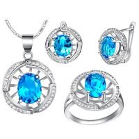 Promotion Price Cool White Gold Colou Jewelry Sets For Women Wedding/Engagement Necklace Earring And Ring T448-9#