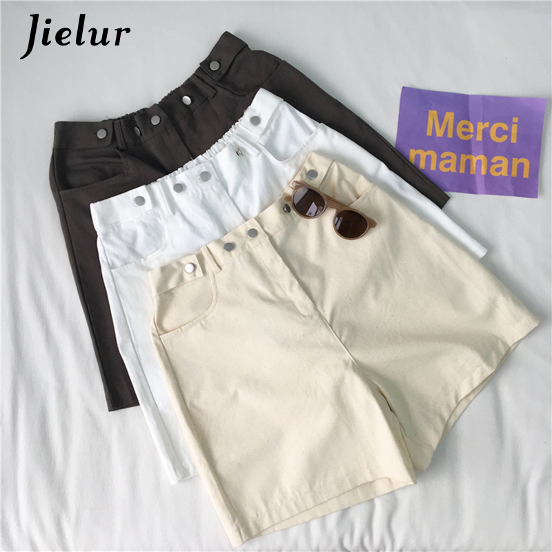 Jielur Harajuku Shorts Feminino High-Waist Summer Casual New Solid Pockets Loose 3-Colors
