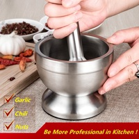Professional Kitchen Supplies Efficient Tool Double Layer Stainless Steel Garlic Chili Pepper Press Grinder Bowls