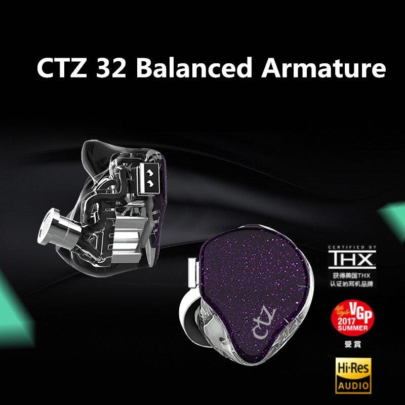 CTZ 32BA 16BA Unilateral fone de Ouvido em Ouvido Personalizado Feito 2PIN Armadura Balanceada Em Volta Da Orelha Fone de Ouvido Com 0.78 milímetros Plug do Fone de Ouvido CTZ BA