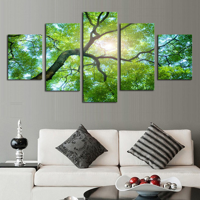 5pcs No Frame Wall Art Green Trees Definition Pictures Canvas Prints