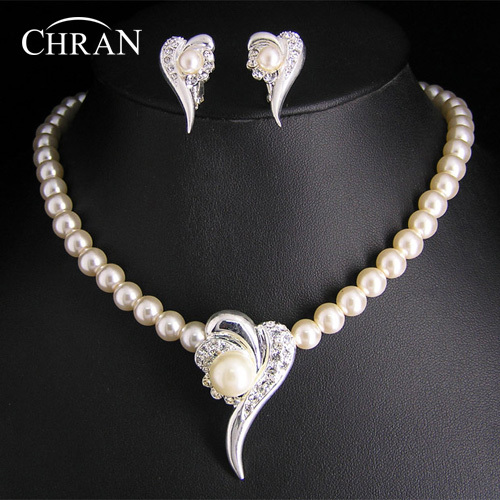 CHRAN Wholesale Heart Shape Imitation Pearl Bridal Jewelry Sets Promotion Costume Brand Wedding Jewelry Accessories Party Gifts
