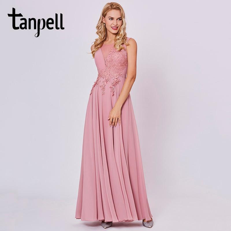Tanpell appliques prom dresses perzik mouwloze vloerlengte een - Jurken voor bijzondere gelegenheden