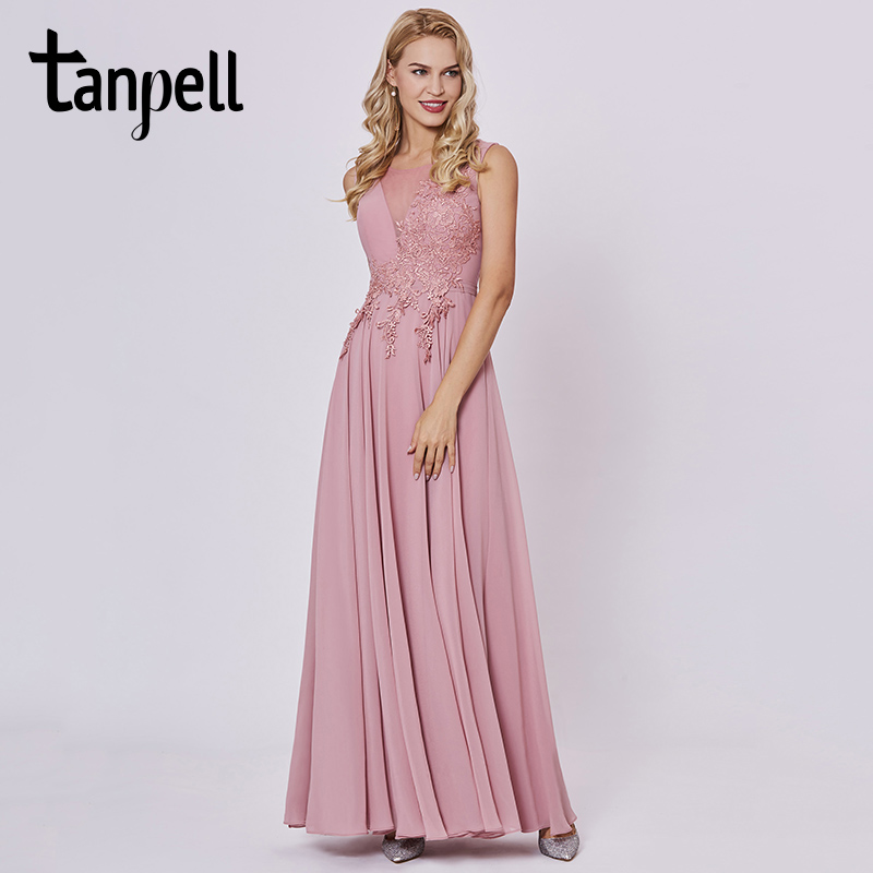 Tanpell appliques prom dresses peach sleeveless floor length a line gown cheap women scoop neck evening formal long prom dress