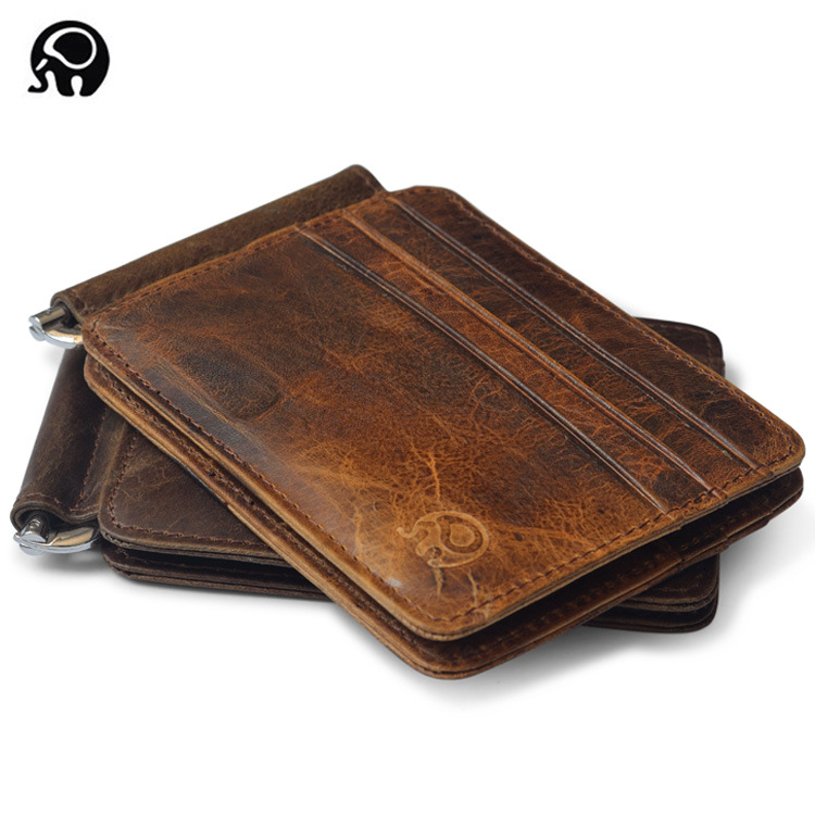 2017 Retro Cow Leather Wallet Men Money Clips Quality Cowhide Cards Clutch Wallets Women Housekeeper Clutch Purse