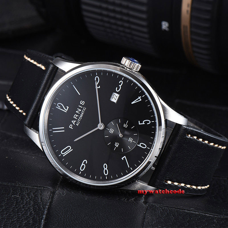 цена 42mm Parnis black dial date window Handset Automatic Movement Men Watch 951 онлайн в 2017 году