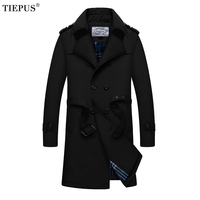 TIEPUS 5XL Men's Parkas Long Trench Coats Spring Men Business jackets Male manteau homme mens slim overcoat Windbreaker